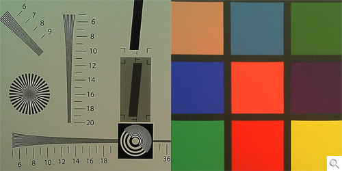 Both the resolution and color charts showed a high amount of noise, with a warm hue to its colors. Click to view the enlarged version.