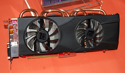 A custom Radeon HD 6870 X2 from PowerColor, with its dual fans and thick copper heatpipes. The vendor is probably the only manufacturer with such a model.