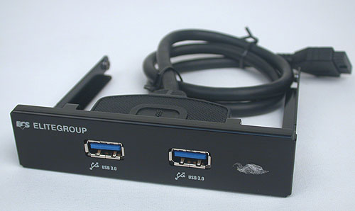And here's the included USB 3.0 front panel bracket from ECS.