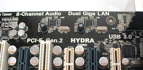 More indications of what this board has, like its HD audio, dual Gigabit LAN and of course, Hydra!