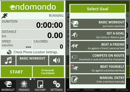 Endomondo covers all the essentials for your outdoors workout -- your workout time, distance covered, speed, calories burned... the works! But on top of that, it also adds a social aspect via SNS connectivity, letting you keep your friends posted on your progress as well as letting them keep you motivated instantaneously.