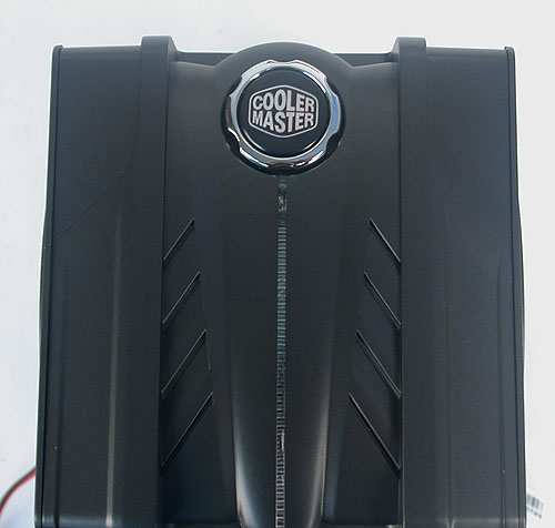 Press the big Cooler Master logo here to change the color of the LED strip.