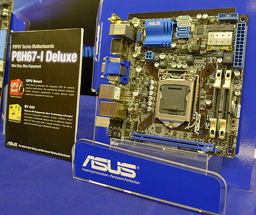 Another ASUS H67 board, this Deluxe version comes with GPU Boost feature (that increases your integrated graphics core frequency) and the BT GO! Bluetooth module.