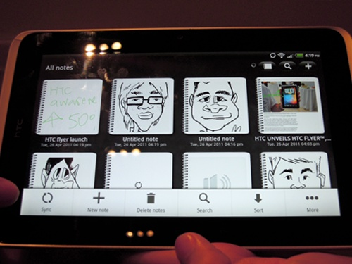 The HTC Flyer tablet also features built-in synchronization with Evernote, in which notes can be synced with your Evernote account after saving them on your tablet. While there are no plans to sync it with other third party note-taking apps of your choice, we aren't complaining as Evernote itself is comprehensive enough.