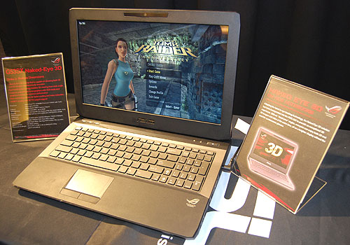 The 15-inch ASUS G53Sx was showing off a 3D version of this Tomb Raider game. The best thing is that no 3D glasses are required. As for the specs of this laptop, it uses an Intel 2nd-gen Core processor, with options for Blu-ray drive and up to 16GB of memory.