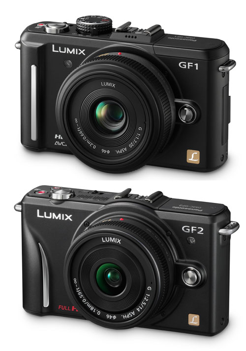 You can see the design changes between the Panasonic Lumix GF1 (top) and the GF2 (bottom) in this picture (not to scale).