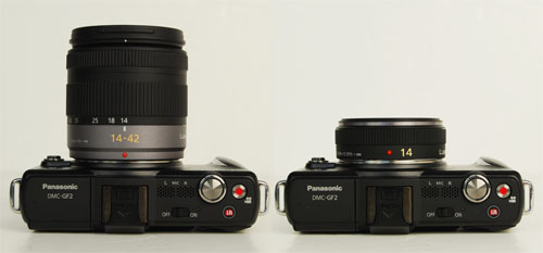 Another look at the differences in size between the 14-42mm kit lens (left) and the 14mm kit lens (right).