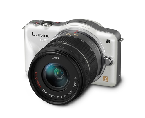 The Panasonic Lumix DMC-GF3 comes in black, white, red, brown and pink.