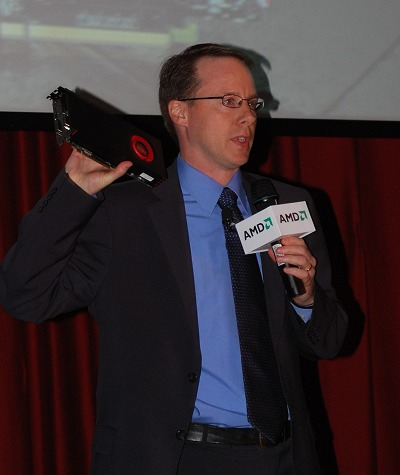 Matt Skynner, Corporate VP and GM for AMD Graphics Division showing off the new Radeon HD 6870. Stay tuned for more info on HardwareZone on the 22nd October when it goes official.