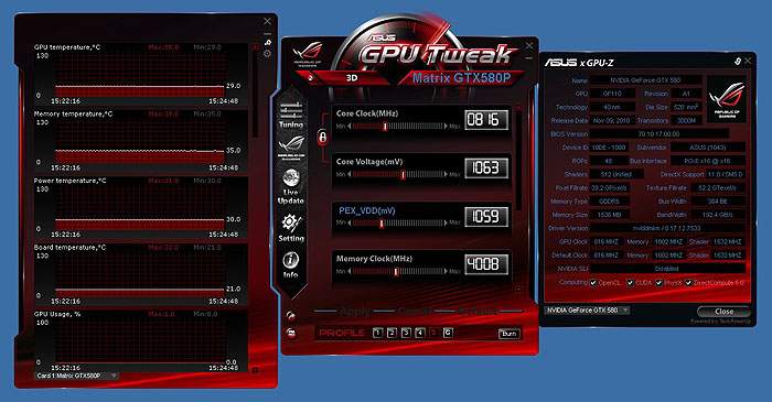 You can expand up to three panels with the GPU Tweak utility, a main control panel, a monitoring panel and the ASUS' reskinned GPU-Z. Click on image to enlarge.