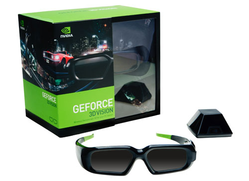 NVIDIA's 3D Vision kit, consisting of the active shutter 3D glasses and the IR external emitter.