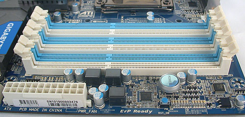 The usual six DDR3 DIMM slots that support up to a maximum of 24GB memory. DDR3-2200 for the overclockers.