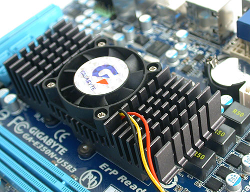 The unified heatsink with cooler on the Gigabyte board cools both the chipset and the APU. It's relatively quiet at its default settings.