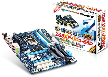 The new GIGABYTE Z68XP-UD3-iSSD motherboard features the Intel Z68 enthusiast chipset and ups the ante by featuring Intel's Smart Response Technology working out of the box. It does this by integrating an mSATA based Intel 311 series SLC-based SSD of 20GB in capacity for caching purposes.