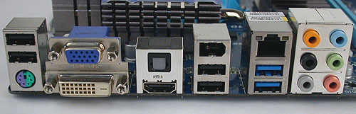 The UD3H is aimed at the mainstream segment so there's a modest but wholly adequate amount of rear I/O ports. The blue USB ports are version 3.0 compatible. Besides that, one finds FireWire and optical S/PDIF connectors.