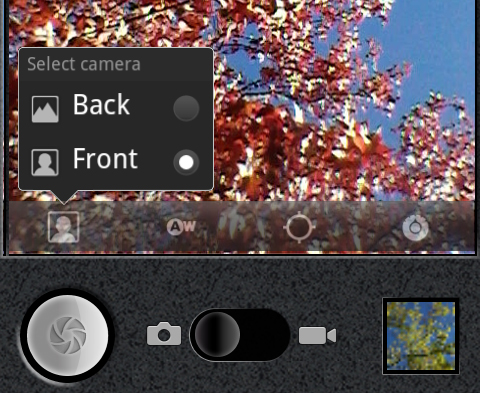 A quick switch in the camera interface lets you swap between the rear and front cameras.