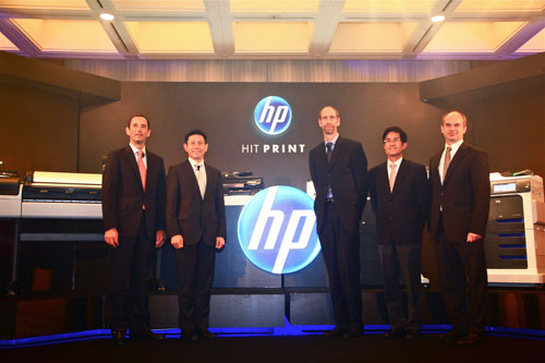 HP executives with the range of new products introduced at the launch.