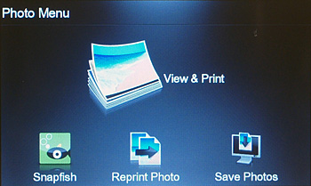 The Photo menu lets you view and print photos, connect to Snapfish, reprint a printed photo, or save photos to a USB flash drive or a memory card.