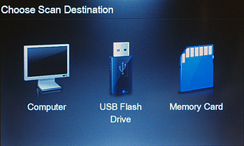 You can scan to either one of three destinations: computer, USB flash drive, or memory card. For scanning to PC, if the printer is network-connected, a list of available computers would appear.