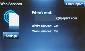 The Web Services menu provides options for enabling or turning off Web Services and ePrint, checking for product updates, and configuring other web settings.