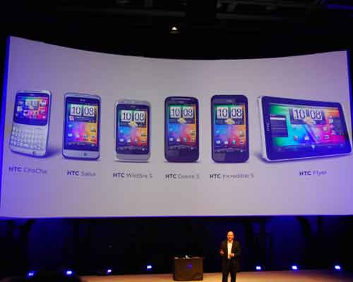 A total of six Android devices were announced by HTC, namely the HTC Incredible S, Desire S, Wildfire S, Facebook-centric phones such as the HTC Salsa and Chacha, and finally the first HTC tablet, the HTC Flyer.