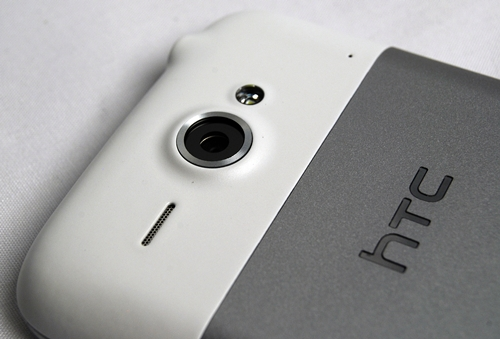 You can find the speaker, 5-megapixel camera and LED flash at the top rear section of of the HTC ChaCha.