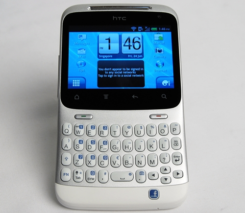 The HTC ChaCha is one of the two HTC phones that feature a dedicated Facebook button.