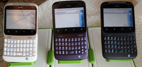 The HTC ChaCha is available in three colors: modern white, amethyst purple and phantom black.