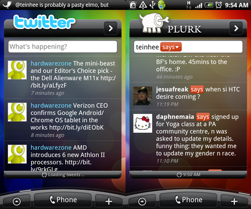 As such, you can opt to include the Twitter (HTC Peep) or Plurk widget.