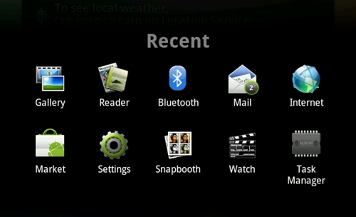 The multitasking tab in the Flyer (which occupies the entire screen like any other Android smartphone) pales in comparison with the new visual multitasking tabs found in Honeycomb tablets.