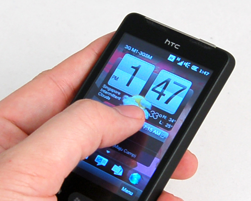 Taking the capacitive approach, you'll see more thumb swiping on the 3.2-inch screen.