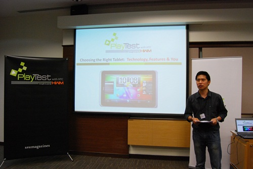 "First up, the HWM/HWZ.com team presenting on the topic: ""Choosing The Right Tablet: Technology, Features & You"". In this presentation, we covered the overview of the tablet situation, hardware specifications and the available operating systems and user interfaces for tablets in the market."