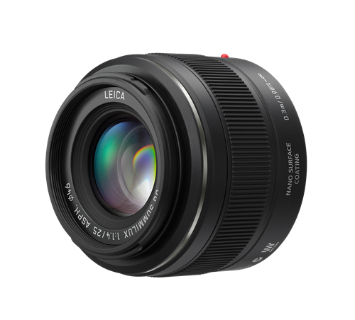 The Leica DG SUMMILUX 25mm/F1.4 ASPH. lens for Panasonic Lumix G MFT cameras.