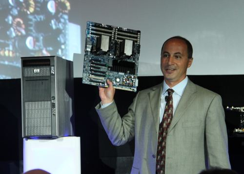 Jim Zafarana , Vice President and General Manager for HP's Workstations Global Business Unit holds a dual-socket motherboard based on the Intel 5520 chipset which forms the base of Intel's Westmere platform.