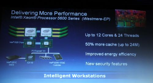 The new chips, formerly code-named Westmere, will feature up to 12 cores and 24 threads on dual sockets, with up to 24MB of cache. Intel also throws in better energy efficiency and improved security features.