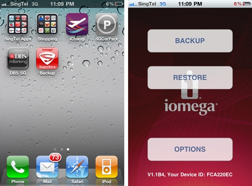 Install the Iomega SuperHero Backup app and you are all set for the final stage. On opening the app, you will get a basic menu with three options - backup, restore and further options.
