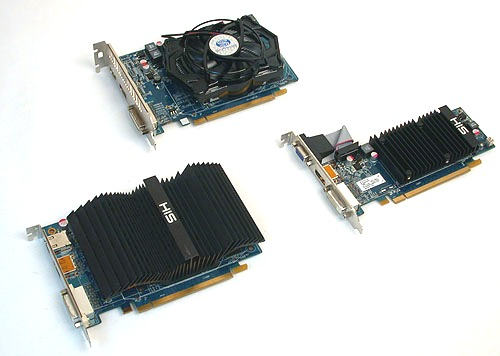 While the reference AMD cards came with small fans, manufacturers like HIS are taking the opportunity of these low-power, low-end cards to go with passive coolers. The sole Sapphire card here, a Radeon HD 6670 meanwhile comes with a cooler from Arctic Cooling.