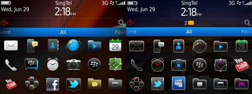 Aesthetically, the new BlackBerry 7 OS interface (left) retains an almost similar look as the BlackBerry 6 OS (right). However, you can see that RIM has improved the appearance of several app icons such as the camera, the browser, message, clock and more.