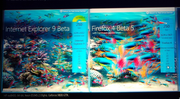 Here's a demo that Microsoft was often running showing the compiled JavaScript performance on two different browsers on the same system. In this little test, rendering hundreds of fish on IE9 versus Firefox saw a huge difference in performance.