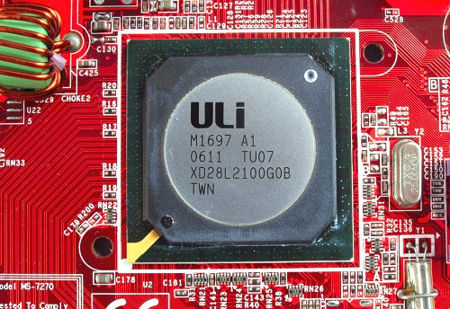 ULi single chip M1697 chipset used in a Socket AM2 motherboard.