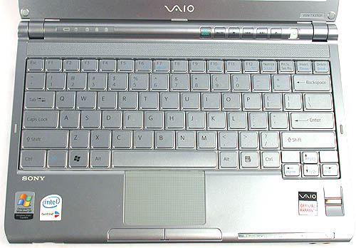 The keyboard and much of the notebook chassis is based on plastics, which probably helps to keep it lightweight. The feel and response of the keyboard was quite decent, though the compromise of its small footprint means tiny direction keys and it would have been impossible to squeeze in a full number pad.