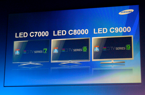 Three of Samsung's recent LED TV series.