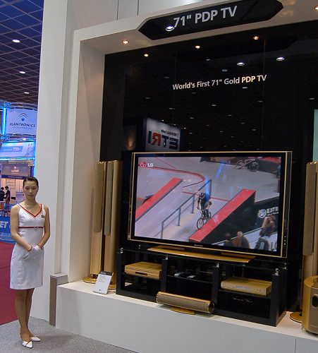 For larger-than-life video (literally) and a large dash of posh living, you'll do well to get the limited edition royal gold 71-inch Plasma TV with the abovementioned LG media centre unit. With a price tag in the $30,000 range, 1080p is thankfully supported  it better!