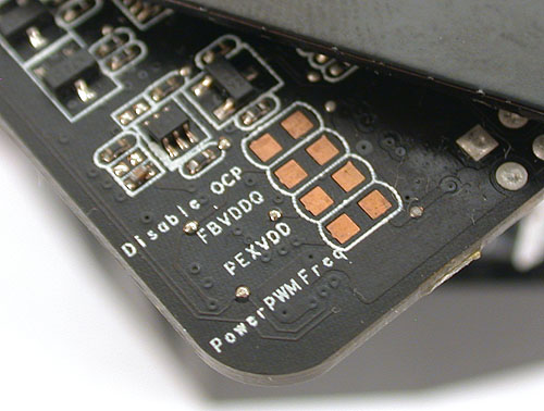 These solder pads here are meant for the hardcore crowd. The 'Disable OCP' here basically removes any last safeguards on this card. Recommended only if you are using LN2.