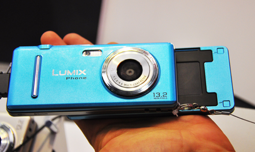 """part """"camera"""", the Lumix phones come with a 3.3-inch touchscreen and a 13.2-megapixel camera at the back. While its front reminded us of an old-school slide-out design, it transforms into a regular camera once you flip it on its back."""