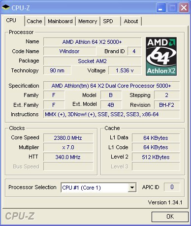 CPU underclocked to make sure we get the most out of the motherboard. 340MHz with 5x HTT multiplier is an amazing score.