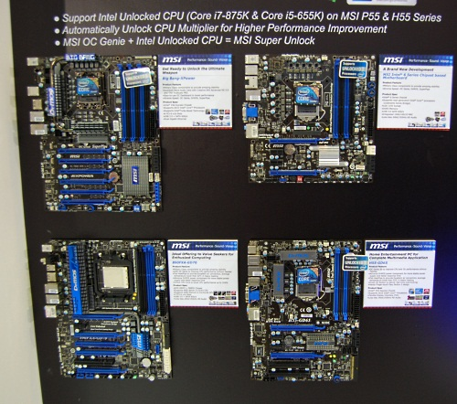 Another new MSI feature responding to Intel's recent announcement of new Core processors with unlocked multipliers is found on these MSI boards, though you'll probably need a BIOS update to enable them on existing models. This Super Unlock feature will automatically unlock the multiplier during OC Genie's auto-overclocking process, enhancing the amount of overclock possible.