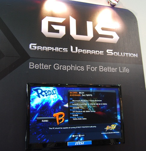 MSI was also showing off its Graphics Upgrade Solution, which is basically an external graphics adapter for your notebook.