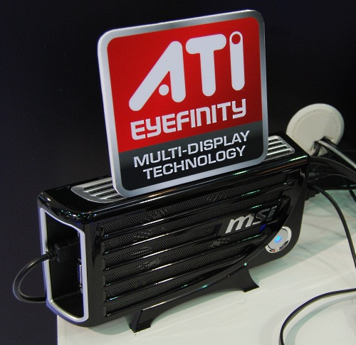 The model shown here may have the ATI Eyefinity logo nearby but this Graphics Upgrade Solution is actually a casing with its own 90W power supply which can accept both ATI and NVIDIA graphics cards. Due to the 90W power requirement, most of the high-end GPUs are ruled out, but even a mainstream discrete graphics card would do wonders for a notebook running on integrated graphics, the target segment for this product.