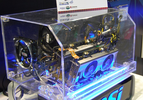 The centerpiece of MSI's 3DMark11 demo is the system powering it, which uses a MSI XPower motherboard with its high-end ATI Radeon HD 5870 Lightning.